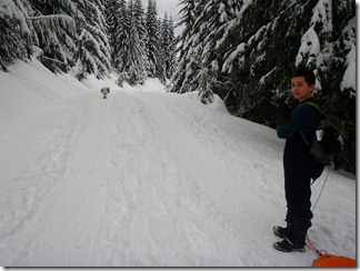 Snow shoeing and sledding - Kendall Peak 011